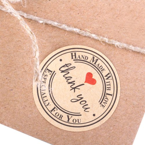 10 runde Kraftpapier Sticker ♥ HANDMADE with LOVE - THANK YOU ♥