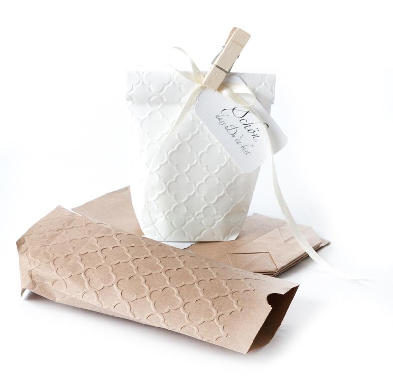 10 Weiße Papiertüten Mit Palast Prägung