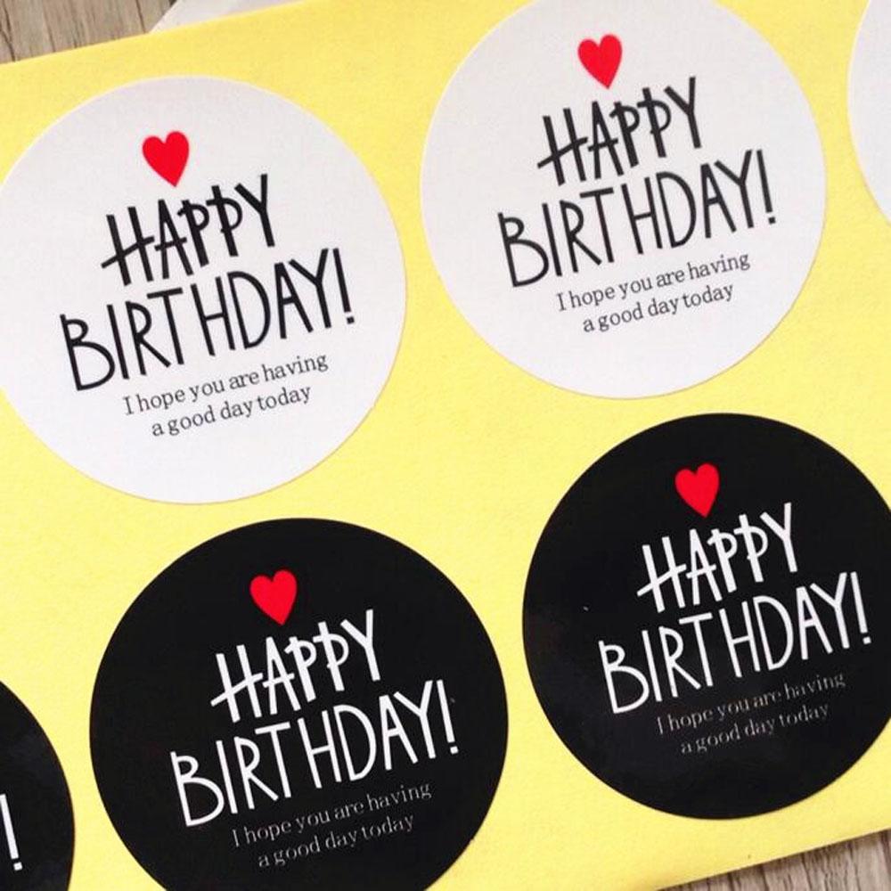 8 Runde Happy Birthday Aufkleber Schwarz Und Weiß