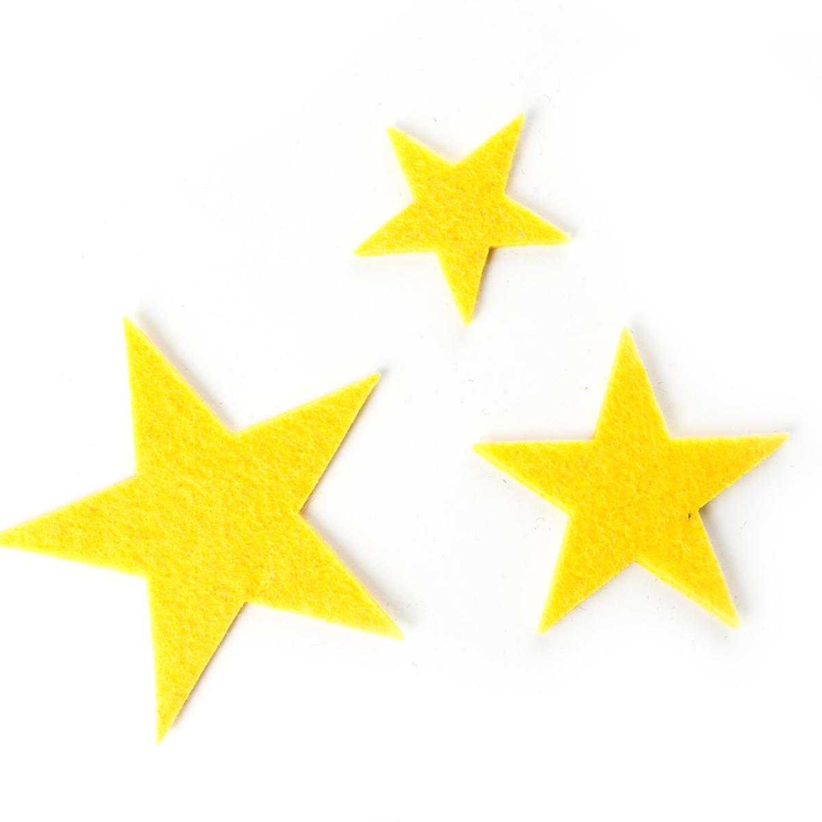 10 Filzsterne Gelb Filz Sterne Streuteile 3mm Dick