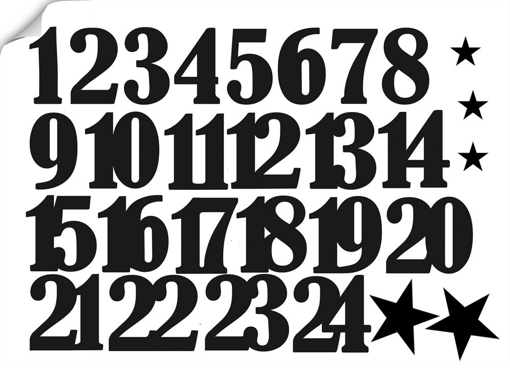 Aufkleber Adventskalender Zahlen 1 24 Sterne Schwarz