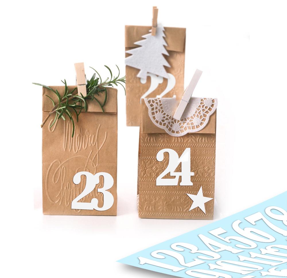 Aufkleber Adventskalender Zahlen 1 24 Sterne Weiß