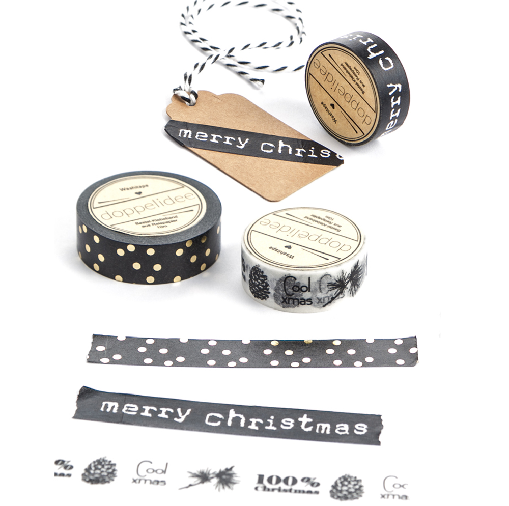 deko klebeband in schwarz wei mit weihnachtsmotiv 100 christmas. Black Bedroom Furniture Sets. Home Design Ideas