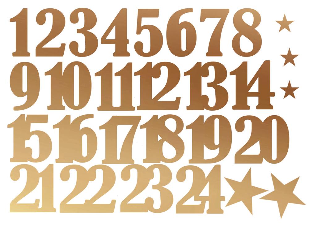 Aufkleber Adventskalender Zahlen 1 24 Sterne Kupfer