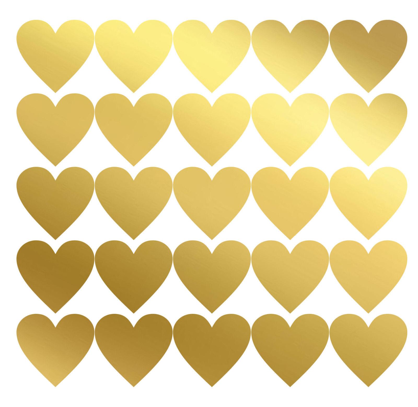 50 Herz Sticker Matt Gold Aufkleber