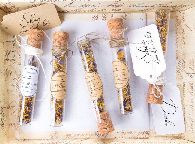 Gastgeschenke Blumensamen Im Glasröhrchen Mit Geschenkanhänger